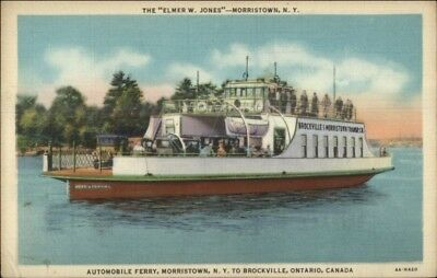 Morristown NY Auto Car Ferry Boat w/ Schedule Printed on Back Linen Postcard