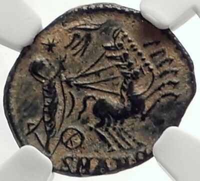 Saint CONSTANTINE I the Great CHARIOT to GOD HAND inHEAVEN Roman Coin NGC i69172