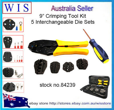 7/PK Crimping Tool Kit for Different Terminals w 5 Interchangeable Die Set-84239