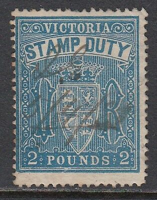 VICTORIA 1884-96 £2 STAMP DUTY, Fiscal cancel