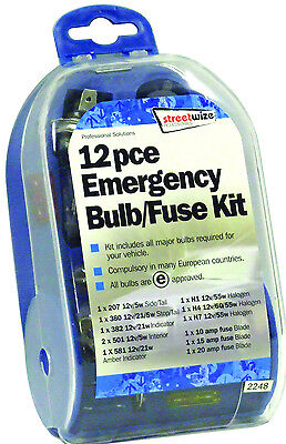 Streetwize Emergency and European Travel H1, H4 & H7 Bulb & All Fuse Kit Set