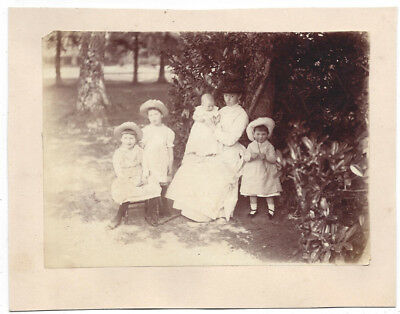 Victorian Lady & Children in the Countryside - Antique Albumen Photograph c1880
