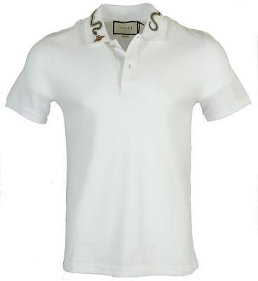 b37ed8511 New Gucci Men's Current Kingsnake Bee Embroidery Cotton Stretch Polo Shirt  Large