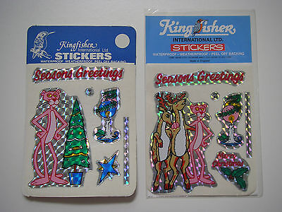 2 Packets of Vintage 1987 Washable Pink Panther Christmas Stickers -  Holograph