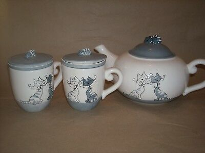 Adorable Cat Set Tea Kettle Cups Lids and filter for Tisane Cat Handle So Cute
