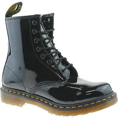 Ladies Dr Martens 1460W Black Patent Leather 8 Eyelet Lace Up Boots