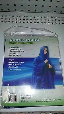 Adult Rain Poncho Lightweight One Size Blue Reusable; Hood With Cord