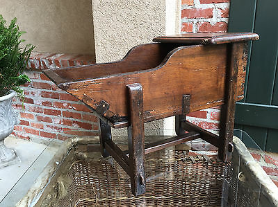 Antique French Carved Oak Wine Cradle End Table Grain Bucket Farmhouse Iron