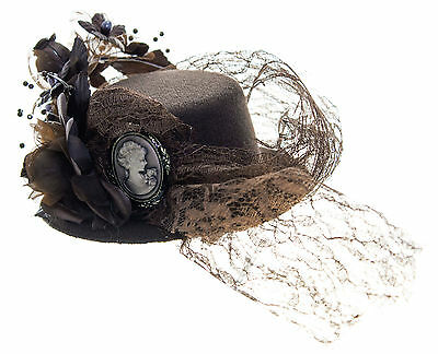 """Vintage Steampunk Look Brown, Cameo, Lace Mini Hat Fascinator 4"""" Hair Clip"""