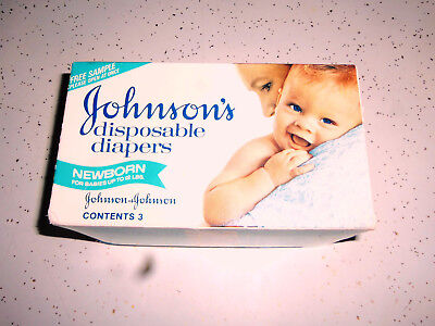 Vintage Johnson's Disposable Diapers Newborn Sample Box 1970s Sealed 3 Diapers