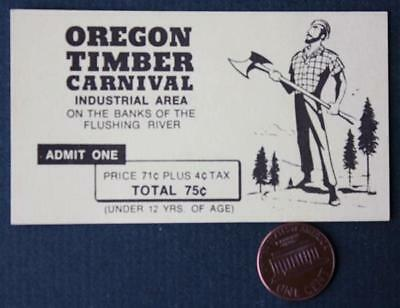 1964-65 New York World's Fair Oregon Timber Carnival ticket-On Flushing River!