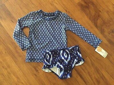 NWT Carters Baby Girl 18 Months Swimsuit Rashguard Blue