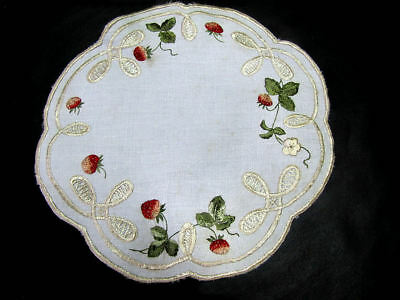 """Antique Society Silk Doily 9 1/2"""" Dia. Hand Embroidered Red Strawberries"""