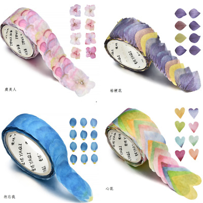 200PCS/Roll Masking Scrapbook Sticker Sticky Paper Flower Petals Tape Washi Tape