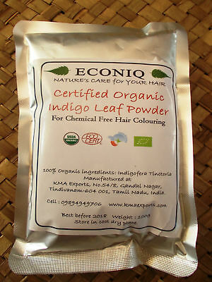 100g (3.5 oz) Certified Organic Indigo Powder for Hair (Often Used with Henna)