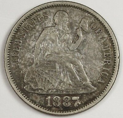 1887-s Liberty Seated Dime.  A.U.  119504