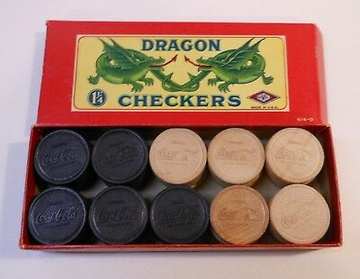 Vintage Coca Cola 1940's  Dragon Checkers