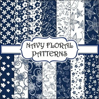 NAVY BLUE FLORAL PATTERN SCRAPBOOK PAPER - 14 x A4 pages