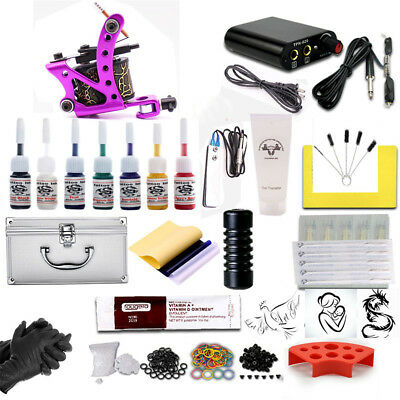 Professional Complete Tattoo Kit Machine Pedal Power Supply Ink Needle Grips Tip