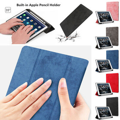 Smart Shockproof PU Leather Stand Case Cover With Pencil Holder For Apple iPad