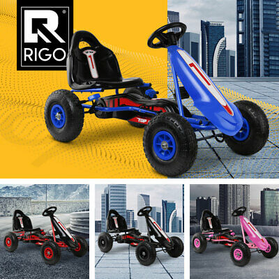 RIGO Kids Pedal Powered Racing Go Kart Soft Air Tyre Ride on Toy Car 4 Color