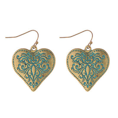 Vintage Bohemian Bronze Heart Carved Drop Dangle Women's Earrings Jewellery