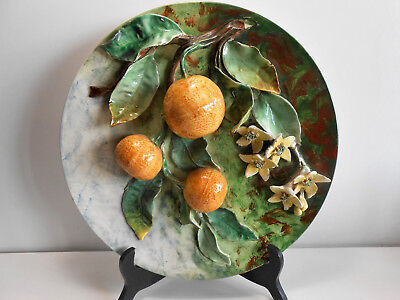 Plat Barbotine Longchamp Decor Relief Fruit Orange 32,5Cm  / Majolica Plate Dish