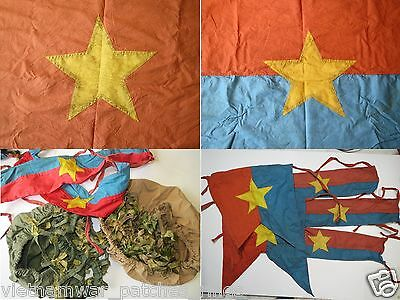 2 flags , HELMET COVERS , 2 ARMBANDS  , VIETCONG ,  Battle Flag  , Vietnam War