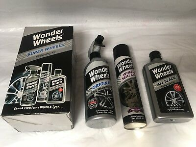 WONDER WHEELS FINISHING KIT - Alloy Cleaner + All Black Tyre Gel + Wheel Sealant