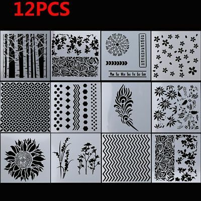 12pcs/set Embossing Template Layering Stencils Walls Painting Scrapbooking