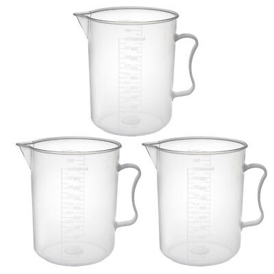 3pcs Laboratory Clear White PP Plastic 1000mL Measuring Cup Handled Beaker