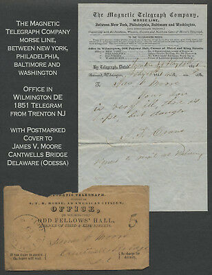 1852 Wilmington Delaware MAGNETIC TELEGRAPH COMPANY Telegram w/ Stampless Cover