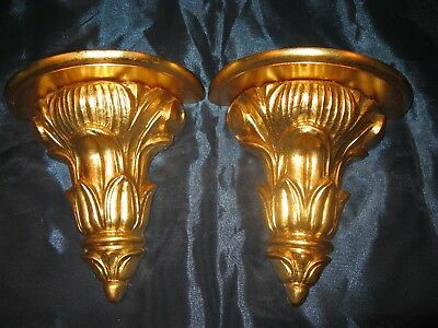 Pair Vintage Gold Gilt Acanthus Leaf Wall Bracket Shelf Corbel Made In Italy