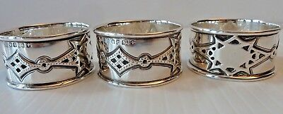 "3 English 1870 Sterling Napkin Rings, Diamond-Shaped Patterns ""rm/eh"" Makers"