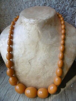 "Vintage European Bakelite yellow Amber necklace. 23 1/2"" 65g Catalin, Galalith"