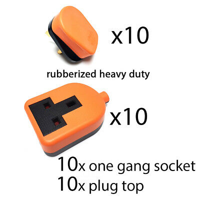 Heavy duty High impact Extension Lead Trailing Socket End plug top 13 amp rubber