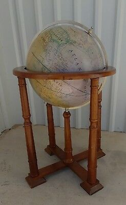 """VINTAGE  15"""" Antique GLOBE ON WOOD STAND Gorgeous"""