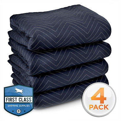 "4 Heavy-Duty 80"" x 72"" Moving Blankets 65 lb/dz Pro Packing Shipping Pads Bl/Blk"