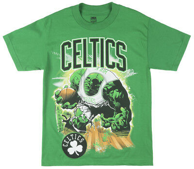 Marvel Comics NBA Celtics The Hulk Basketball T-Shirt Mens Green