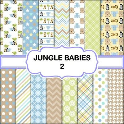 JUNGLE BABIES 2 SCRAPBOOK PAPER - 15 x A4 pages