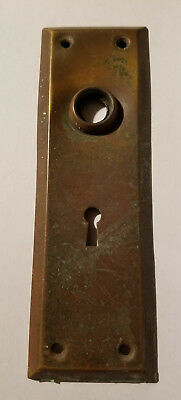 "Old Antique Door Knob Face Plate w Skeleton Key Hole Escutcheon 7"" Inch Vintage"