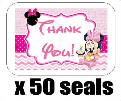 "50 Baby Minnie Mouse 1st Thank You Envelope Seals / Labels / Stickers, 1"" x 1.5"""