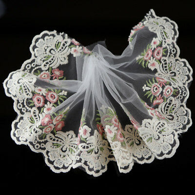 2Yds Floral Embroidered Tulle Lace Trim Dress Costume Home DIY Decor SewingCraft