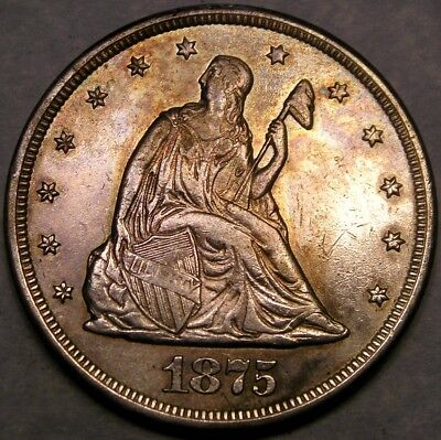 1875 Cc Liberty Seated Silver Twenty-Cent Scarce Appealing Toning Sharp Feathers