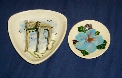 2 X Vintage Australian Pottery Martin Boyd Dishes Unsigned Large One Rare