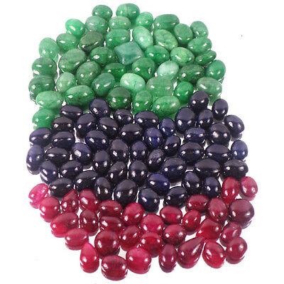 900Ct Natural Emerald,Ruby,Sapphire Oval Cab Multi Color Gems 120Pcs For Jewelry