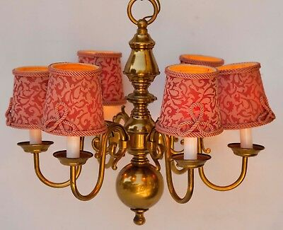 Vtg solid Brass Colonial Williamsburg Ceiling Chandelier Light Fixture 6 Arms