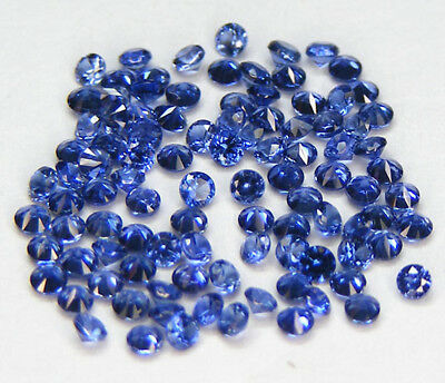 20 Pcs. 1,7 Mm. Machine Cut Saphir Ceylan Bleu Corindon De Synthese