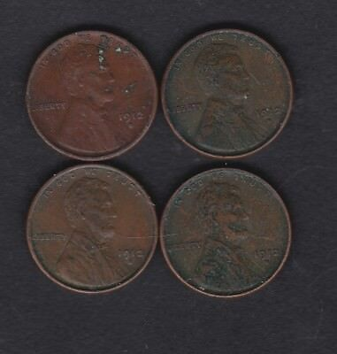 USA, 4 x 1912s one cent coins, most fine or better