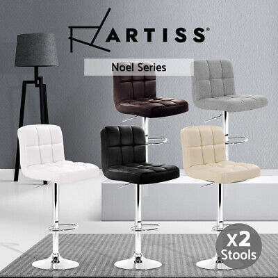 2xNOEL Leather Bar Stools Kitchen Dining Chair Swivel Bar Stool Gas Lift 6 Color